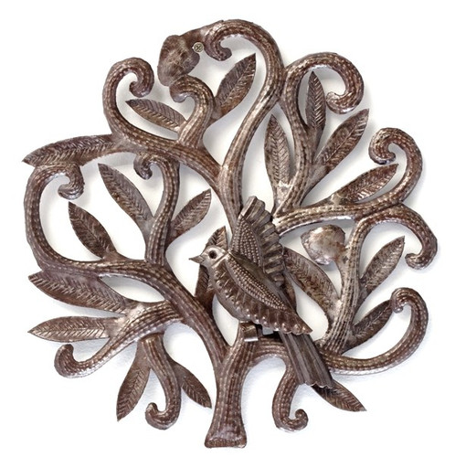 nesting birds wall art garden Haiti metal art