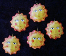 Happy Suns, Hand Painted Clay Charms, Beads Guatemala
