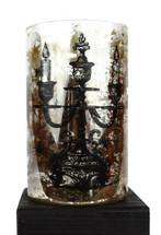 "Day of the Dead Glass Flower Vase 4.5"" x 8"""