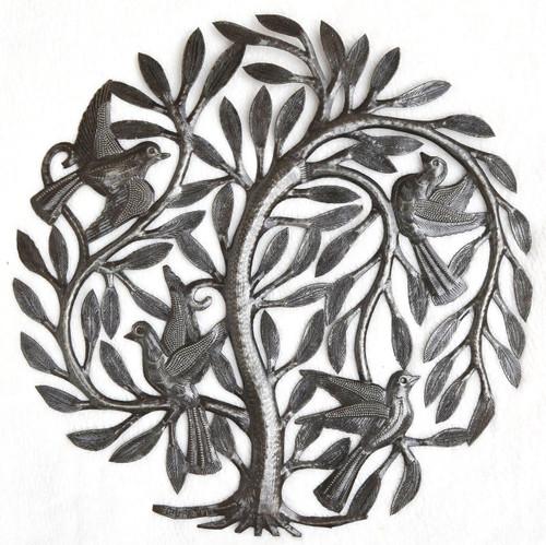 """Leaving the Nest Garden Tree of Life, Haitian Metal Art, Steel Drum, Outdoor, Indoor Decor 15"""" X 15"""", Spring Garden Easter Decoration"""