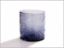 Etched Mexican Glass French Blue