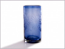 Etched Mexican Glass French Blue 1