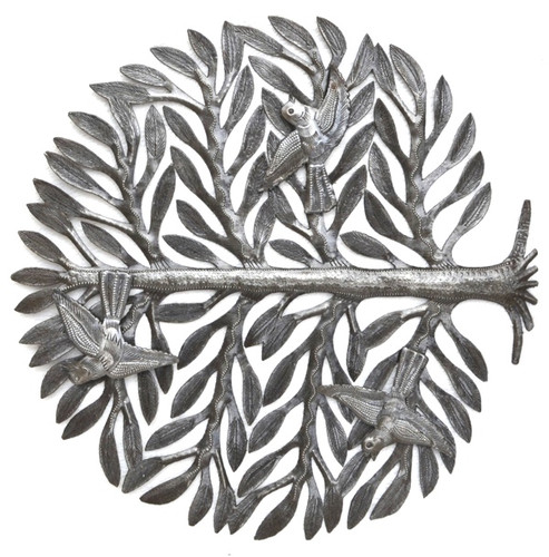 tree of life with 3-d birds haiti metal art
