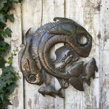 "Fish Lid -  Haitian Metal Wall Hanging Art 23"" x 23"""