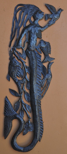 Tall Mermaid Wall Sea life, Haitian Metal Art