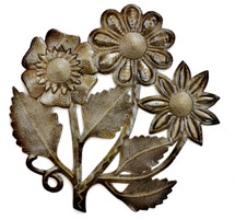 Haitian metal bouquet of flowers metal yard art