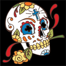 Day of the Dead Tile Skull with Rose