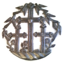 """Garden Field Cross By Soulouque, Religious Handmade Wall Hanging Art from Haiti  23"""" x 23"""""""