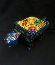 """Hand Carved Blue Animal Bowl  11"""" X 5.5"""""""