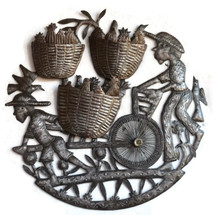 """Cart to Market Farmers in Haiti - One of a Kind   23"""" x 23"""""""