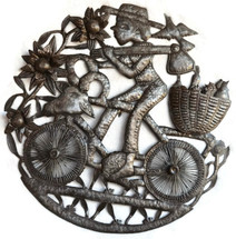 Farmer riding a bike fruit on the back - Haiti metal art