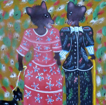FOX COUPLE WITH PET BY GERARD FORTUNE