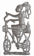 Metal Art Haiti - Girl Riding to Market on a bike