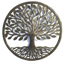 "Tree of Life, Garden Tree,  Framed with Roots RND755    23"" X 23"""
