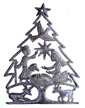 Christmas Tree mixed with a Nativity Unique Holiday Art, Haiti Metal Art