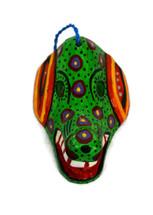 """Ornamental Hancrafted Green Dog Mask 3"""" x 4"""""""