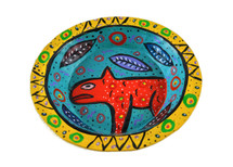 Yellow Bowl Hand Painted from Guatemala 8""