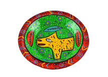Red Bowl Hand Painted from Guatemala 8""