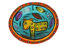 Orange and Blue Bowl Hand Painted from Guatemala 8""
