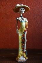 "Catrina, Day of the Dead Altar Ceramic Sculpture 3"" x 16"""