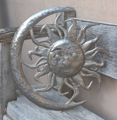 metal sun moon, haiti metal art, it's cactu