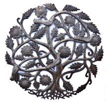 Haiti Metal Art, Tree of Life, with birds, Family Tree Roots, Handmade