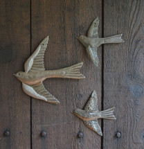 Metal bird wall art set of 3