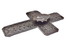 metal cross with milagro heart, Handmade in Haiti