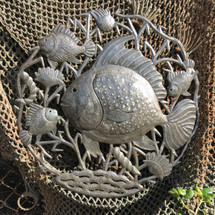 "Fishermans Catch, Reclaimed Metal Wall Art from Haiti, Quality Craftsmanhip 23"" X 23"""