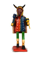 Guatemalan warrior with mask, colorful folk art, handmade