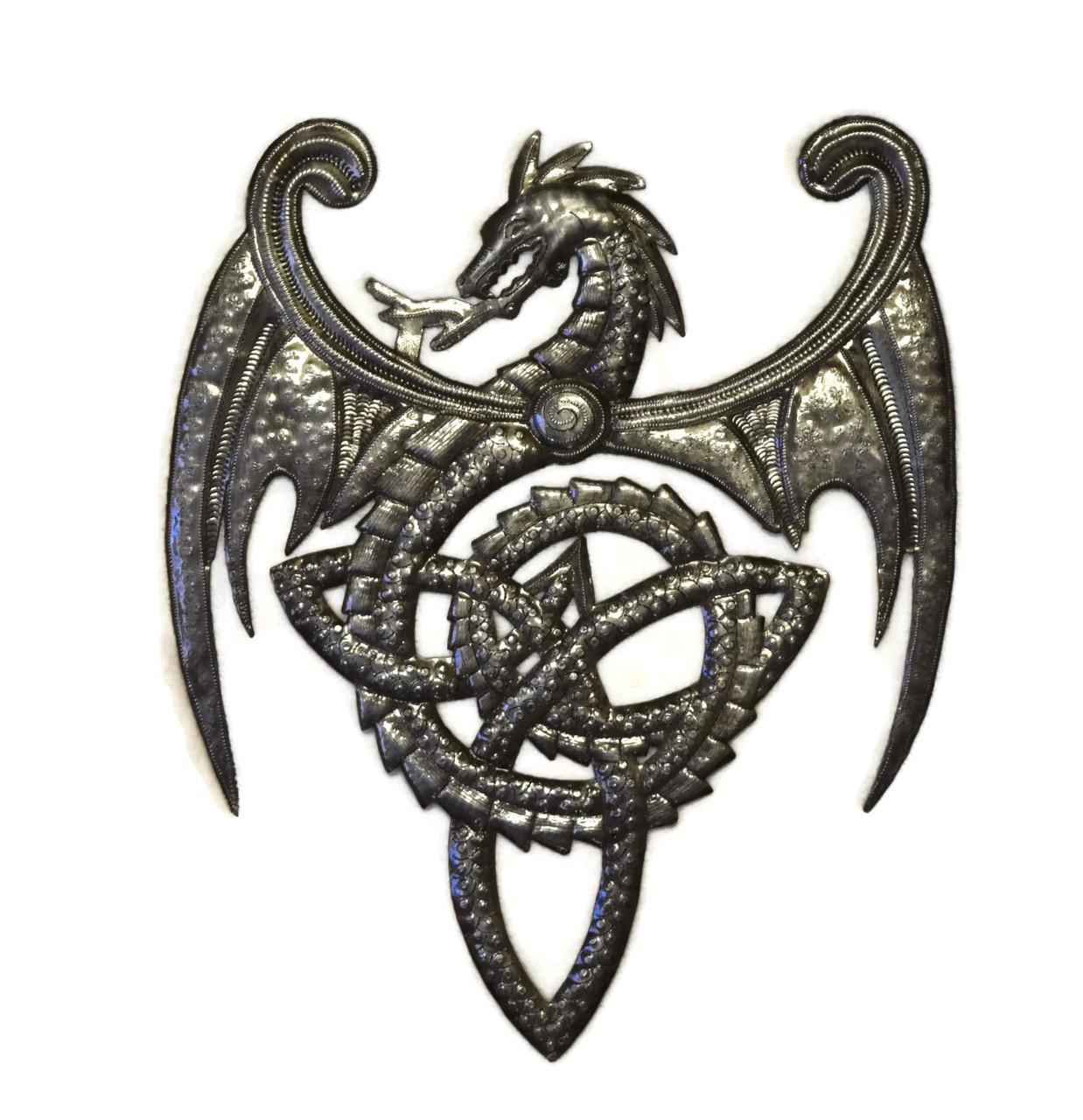Celtic Wall Art metal dragon wall artwork, celtic knot symbol, haitian metal art