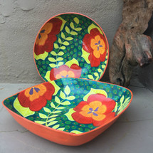 "Haitian Hand Painted Bowl (Square Large), Made from Paper Mache, 9"" x 9"""