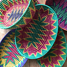 stacks of colorful Mexican traditional baskets