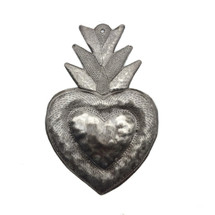 "Flaming Sacred Heart Haitian Recycled Metal 7"" x 9"""