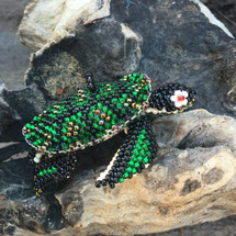 Guatemala Seed Beaded Ornament Sea Turtle