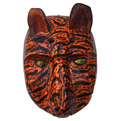 HAND CARVED WOODEN DANCE MASK GUATEMALA, TIGER