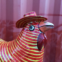 Red and Yellow Paper Mache Rooster wearing a Top Hat