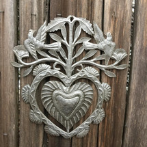 Floral Garden Heart, Erzuli, Recycled Steel Art made in Haiti, Hand Cut in Haiti