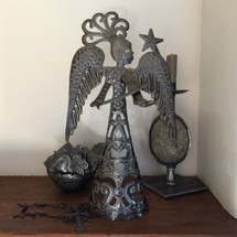 Standing Metal Angel Playing a Violin Made from Recycled Steel in Haiti Fair Trade Project