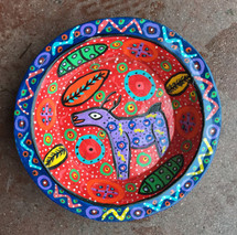 brightly painted Deer bowl Guatemala