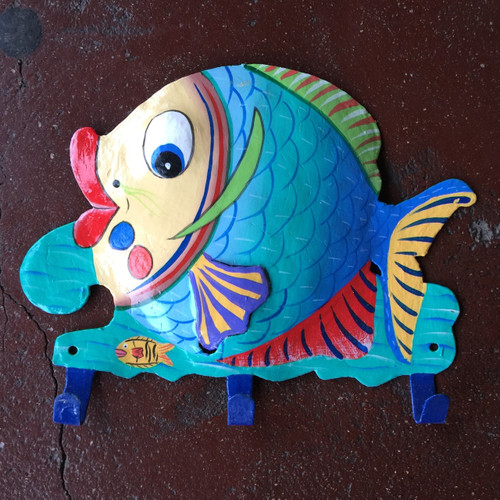 Hand painted Fish wall hook
