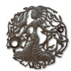 Pregnant Haitian Woman, One-of-a-Kind Metal Art, Haiti Art, Steel Oil Drums, Lid, Art, Sustainable Art, Eco-Friendly Art