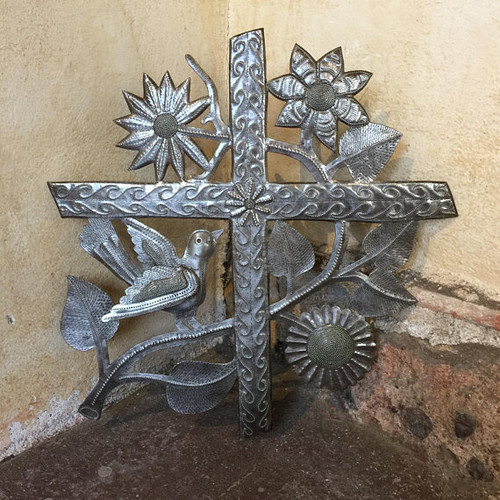 "Cross, Metal Wall Art Collection, Handmade in Haiti, Indoor and Outdoor Decor 16"" x 17"""
