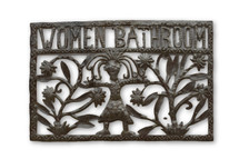 Women Bathroom Sign, Bathroom Sign, Office Decor, Haiti Metal Art, One-of-a-Kind, Fair Trade, Sustainable, Eco-Friendly