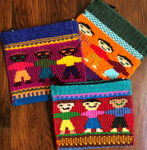 Zip Bags, Guatemalan Colorful Children Hand-crocheted Coin Purse Set of 3
