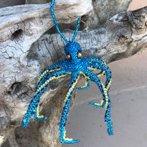 Octopus Sapphire Blue, Ornament, Hand Beaded made in Guatemala ,