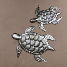 """Sea Turtles, Ocean theme sea life, for indoor or outdoor, handcrafted in Haiti 7.5"""",10"""""""