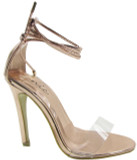 AMY  PERPEX STRAP WRAP AROUND THE ANKLE STILLETO HEEL IN CHROME ROSE GOLD