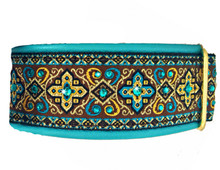 "1.5"" Aqua and Chocolate Croix Swarovski Collar"