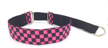 "1.5"" Pink Checkerboard Private Prong Collar"